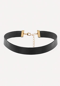 bebe Black Faux Leather Choker