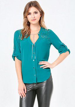bebe Chain Trim Lace Yoke Top