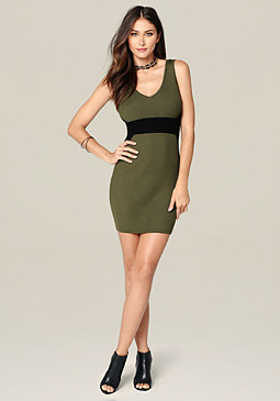 bebe Aubree Double V-Neck Dress