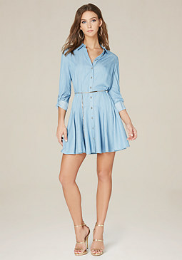 bebe Lucy Chambray Godet Dress