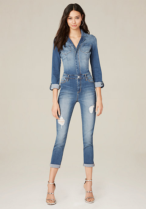 d873726486a Denim Pocket Jumpsuit - Long Sleeve Jumpsuits