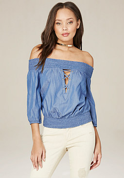 bebe Avia Chambray Top
