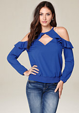 bebe Allie Cold Shoulder Top