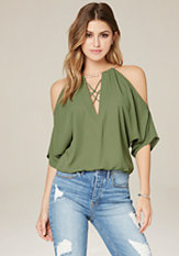 bebe Chain Neck Dolman Top