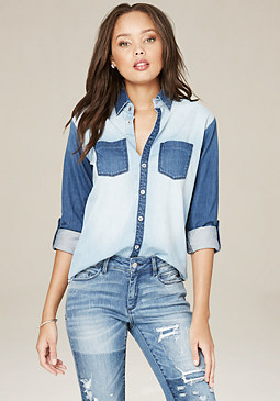 bebe Roxie Blocked Button Shirt