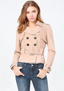 bebe Belted Trench Jacket
