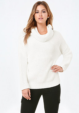 bebe Cowl Neck Pullover Sweater