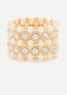 Faux Pearl Crystal Bracelet