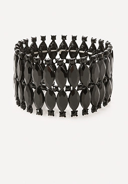 bebe Edgy Black Stretch Bracelet