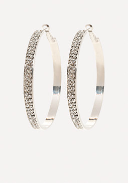 bebe Crystal Front Hoop Earrings