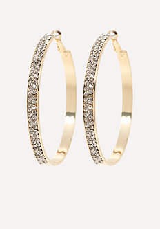 Crystal Front Hoop Earrings