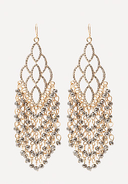 bebe Beaded Fringe Earrings