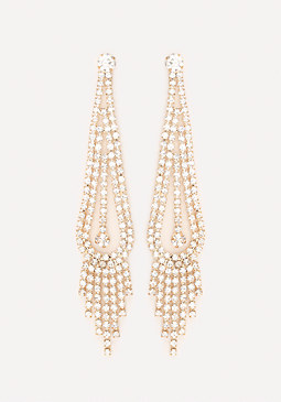 bebe Fringe Teardrop Earrings