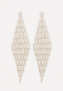 bebe Crystal Chevron Earrings