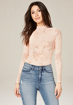 bebe Cutout Back Mock Neck Top