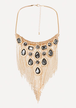 bebe Ornate Fringe Bib Necklace