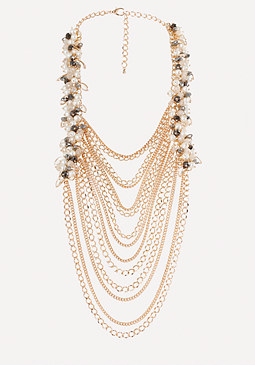 bebe Faux Pearl & Chain Necklace