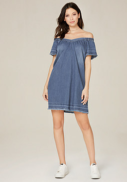 bebe Raw Edge Denim Dress