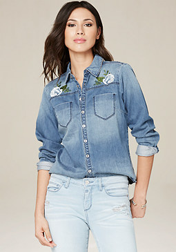 bebe Embroidered Denim Shirt