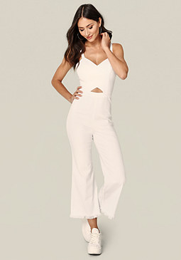 bebe Raw Edge Crop Jumpsuit