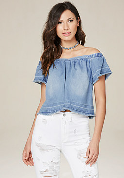 bebe Raw Edge Denim Top