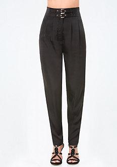 Buckle High Waist Pants