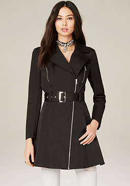 bebe Flared Moto Trench Coat