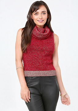 bebe Metallic Cowl Neck Sweater