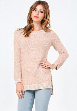 bebe Metallic Hi-Lo Sweater
