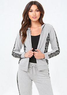 Lace Trim Heathered Hoodie