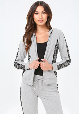 bebe Lace Trim Heathered Hoodie