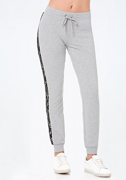 bebe Lace Trim Heathered Pants
