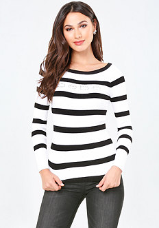 Logo Striped Ribbed Sweater