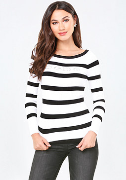 bebe Logo Striped Ribbed Sweater