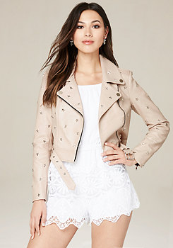 bebe Star Studded Moto Jacket