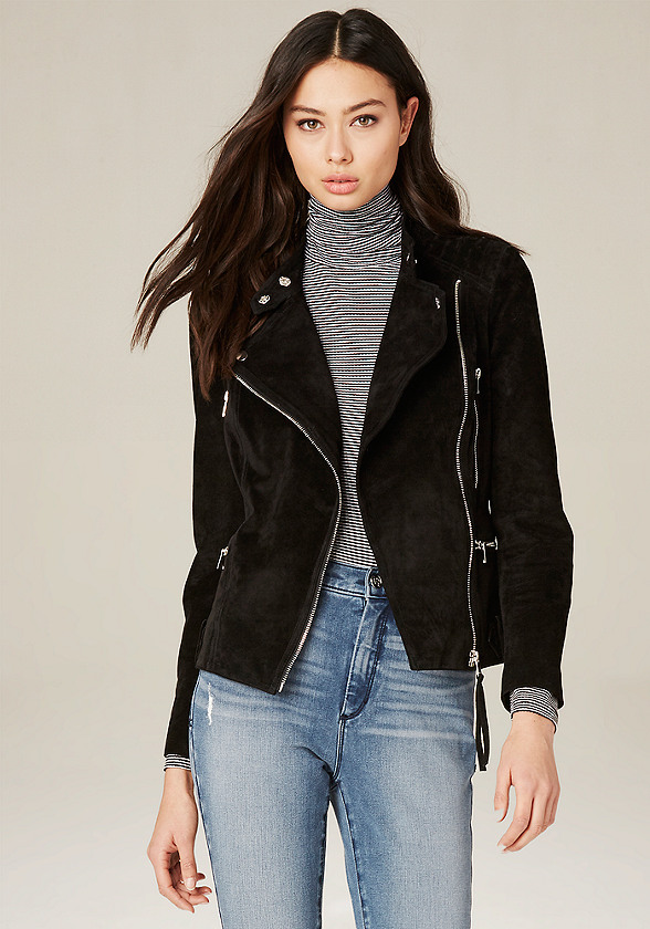 Quilted Suede Moto Jacket