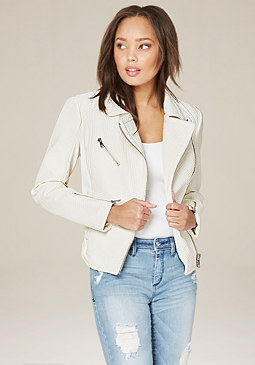 bebe Textured Moto Jacket