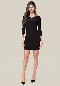 bebe Logo 2-Color Sweater Dress