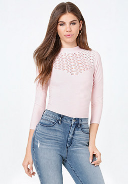 bebe Lola Pointelle Yoke Top