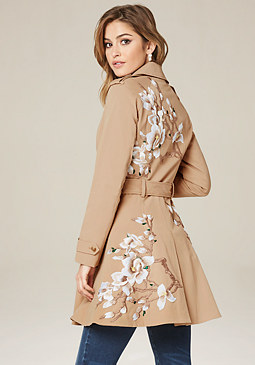 bebe Floral Flared Trench Coat
