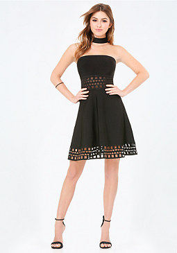 bebe Fit & Flare Choker Dress