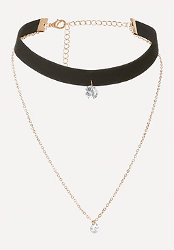 Faux Suede & Chain Choker at bebe