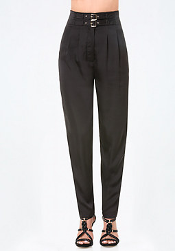 bebe Petite Buckle High Pants