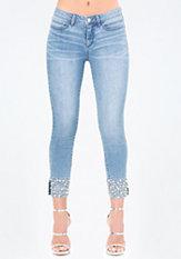 bebe Bling Cuff Crop Jeans