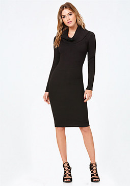 bebe Cowl Neck Sweater Dress