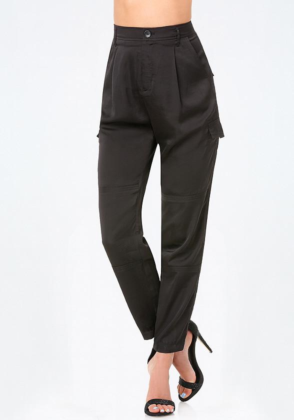 Petite Satin Cargo Pants