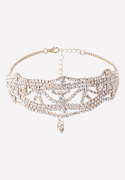 bebe Ornate Crystal Choker