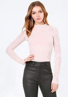 Lace Look Mock Neck Top