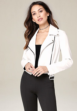 bebe Faux Leather Moto Jacket