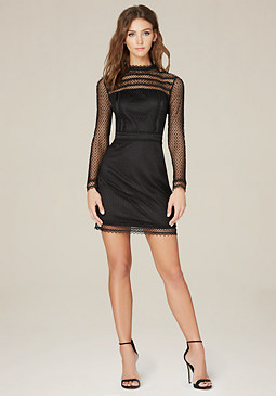 bebe Dotted Lace Dress